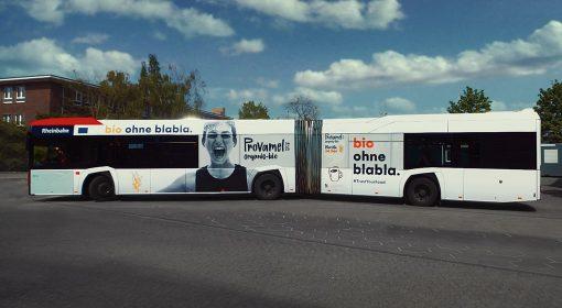 KWS Buswerbung Gelenkbus Ganzgestaltung Provamel Düsseldorf