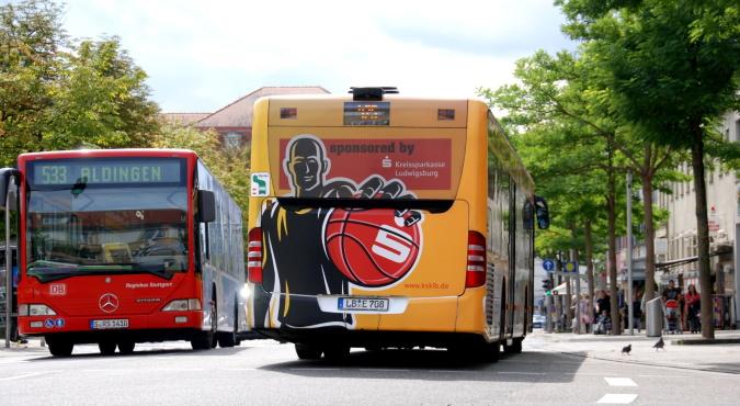 KWS Buswerbung XXL Traffic Board MHP Riesen Kreisparkasse Ludwigsburg