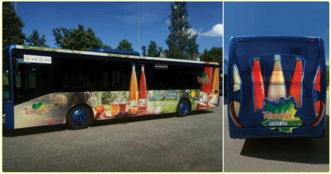 KWS Buswerbung Ganzgestaltung Teinacher Werbung auf Bus Fruchtschorle in Esslingenur