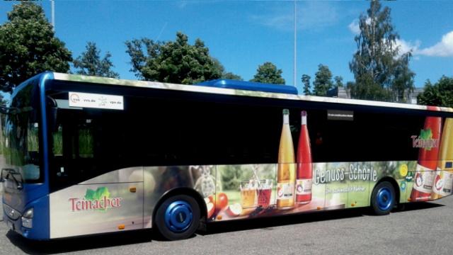 KWS Buswerbung mit Ganzgestaltung von Teinacher Voting Gewinner Pforzheim