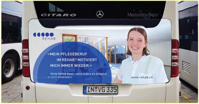 KWS Buswerbung Ingolstadt Traffic Board Rehab.ch Recruiting Arbeitnehmerwerbung auf Mercedes Benz Citaro Rehab Basel