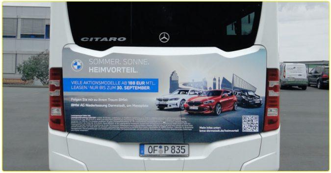 KWS Buswerbung BMW Niederlassung Darmstadt